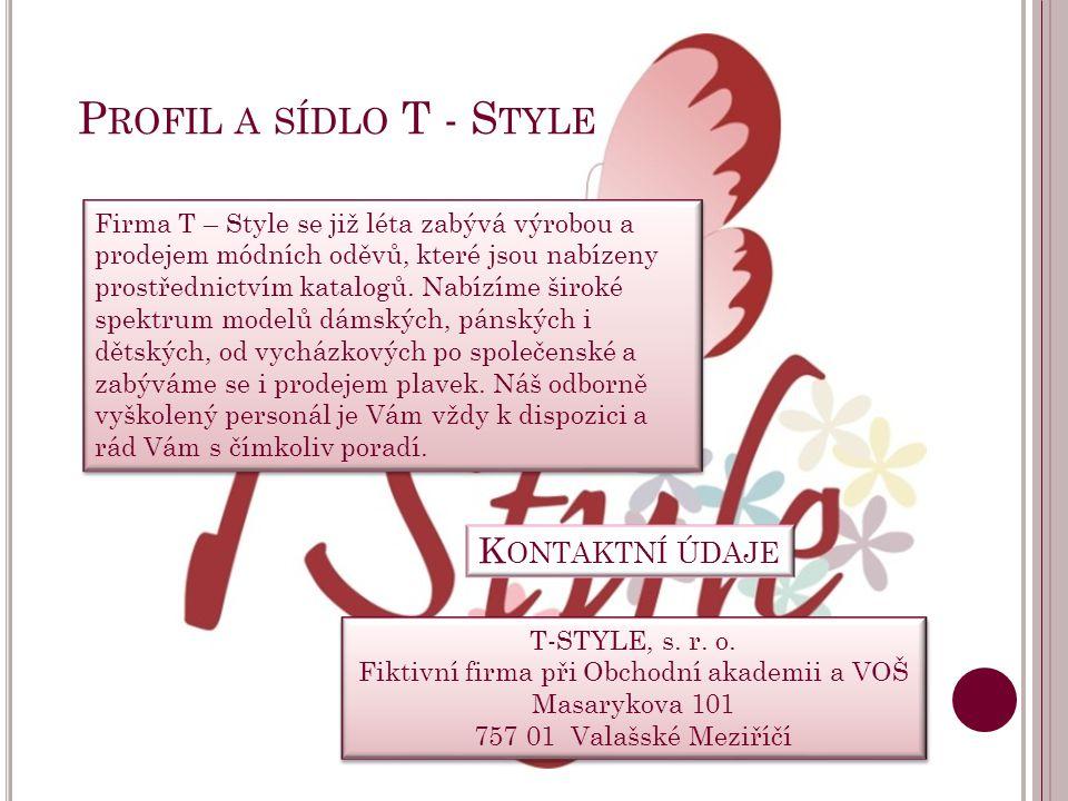 L OGO T - S TYLE Logo T – Style najdete na každém prodaném kusu oblečení, na hlavičce dopisu i v katalogu.