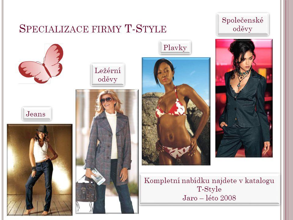Kompletní nabídku najdete v katalogu T-Style Jaro – léto 2008 Kompletní nabídku najdete v katalogu T-Style Jaro – léto 2008 S PECIALIZACE FIRMY T-S TY