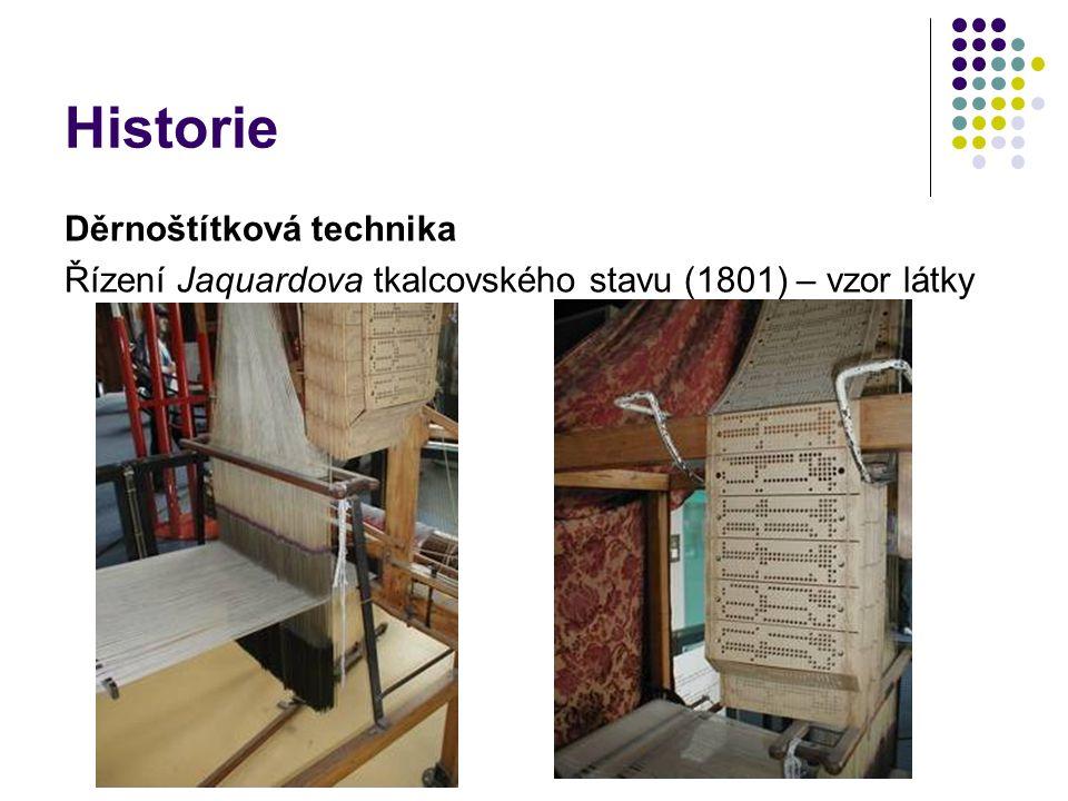 Historie Děrnoštítková technika Řízení Jaquardova tkalcovského stavu (1801) – vzor látky