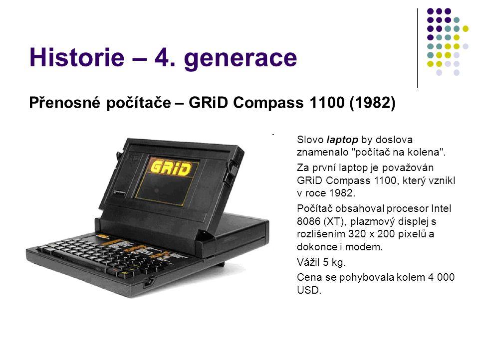 Historie – 4. generace Přenosné počítače – GRiD Compass 1100 (1982) Slovo laptop by doslova znamenalo