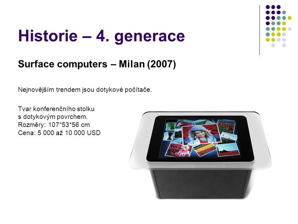 Historie – 4. generace Surface computers – Milan (2007) Nejnovějším trendem jsou dotykové počítače. Tvar konferenčního stolku s dotykovým povrchem. Ro