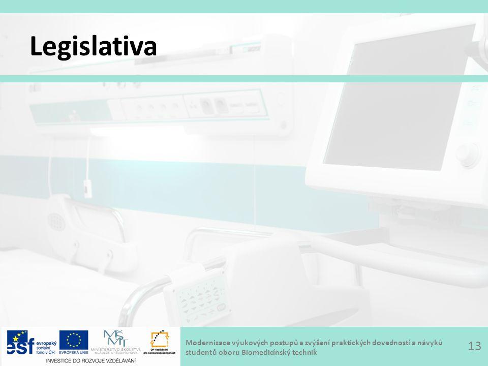 Modernizace výukových postupů a zvýšení praktických dovedností a návyků studentů oboru Biomedicínský technik Legislativa 13
