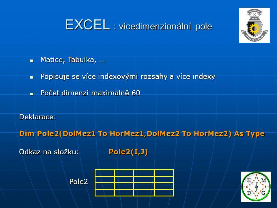 EXCEL : vícedimenzionální pole Matice, Tabulka, … Matice, Tabulka, … Popisuje se více indexovými rozsahy a více indexy Popisuje se více indexovými roz