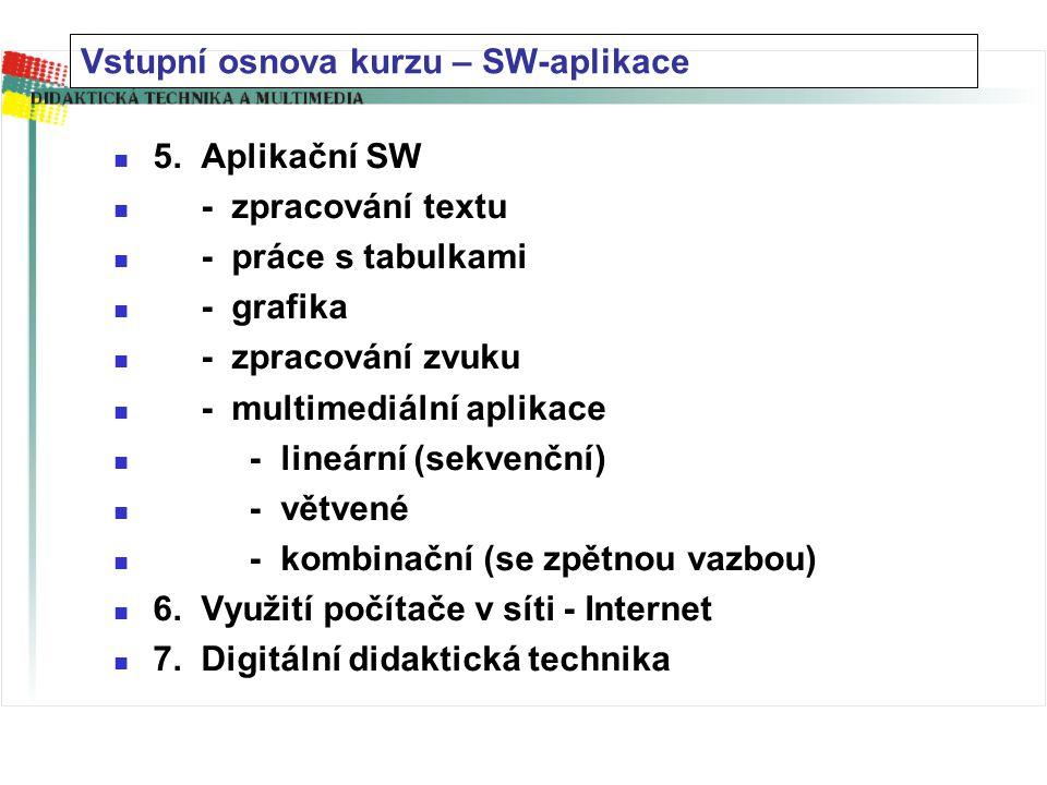 1. vývojový trend VT 2. HW – technické vybavení - základní sestava (+periferie) - DTP - multimediální sestava - struktura PC 3. SW – programové vybave