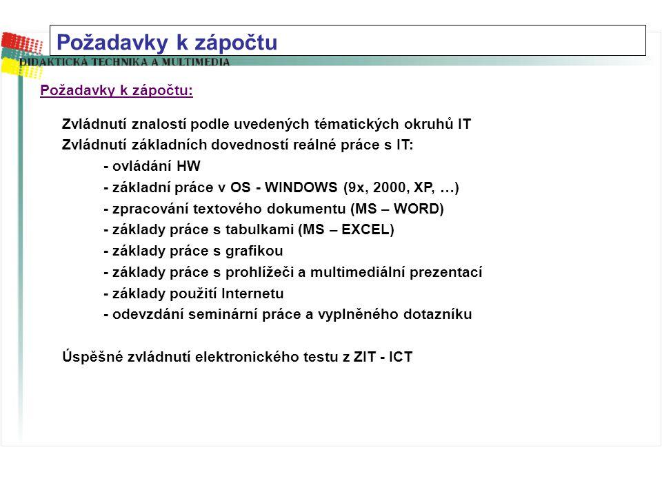 Zvládnutí znalostí podle uvedených tématických okruhů IT Zvládnutí základních dovedností reálné práce s IT: - ovládání HW - základní práce v OS - WINDOWS (9x, 2000, XP, …) - zpracování textového dokumentu (MS – WORD) - základy práce s tabulkami (MS – EXCEL) - základy práce s grafikou - základy práce s prohlížeči a multimediální prezentací - základy použití Internetu - odevzdání seminární práce a vyplněného dotazníku Úspěšné zvládnutí elektronického testu z ZIT - ICT Požadavky k zápočtu: Požadavky k zápočtu