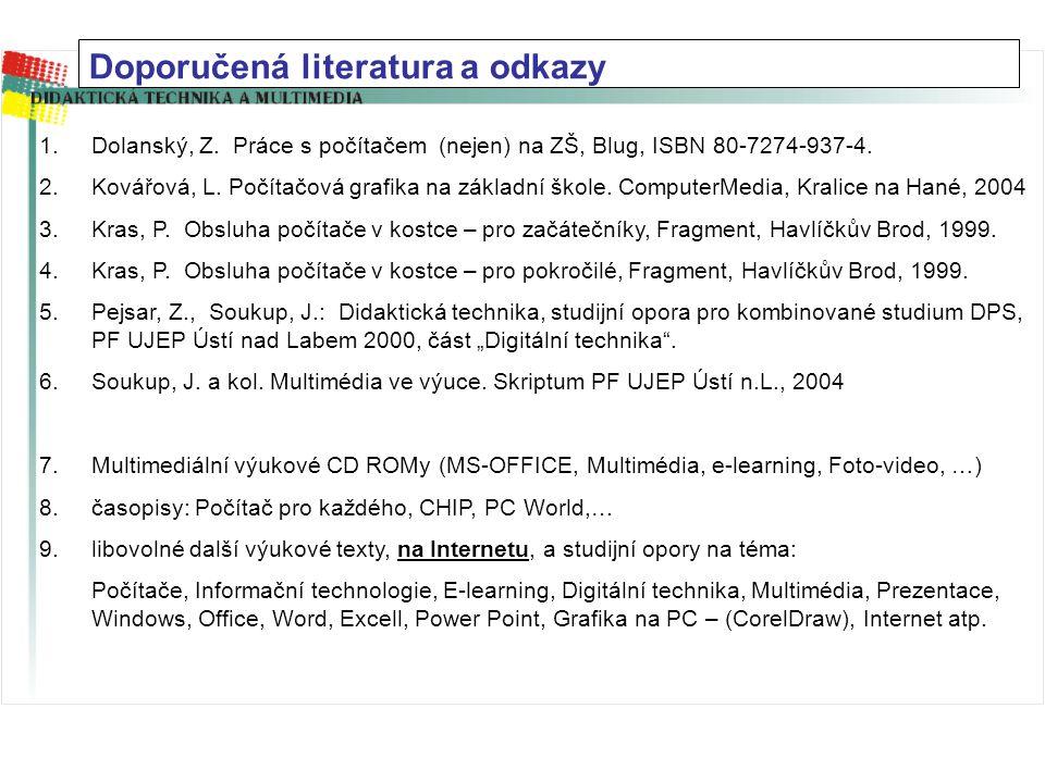 1.Dolanský, Z.Práce s počítačem (nejen) na ZŠ, Blug, ISBN 80-7274-937-4.