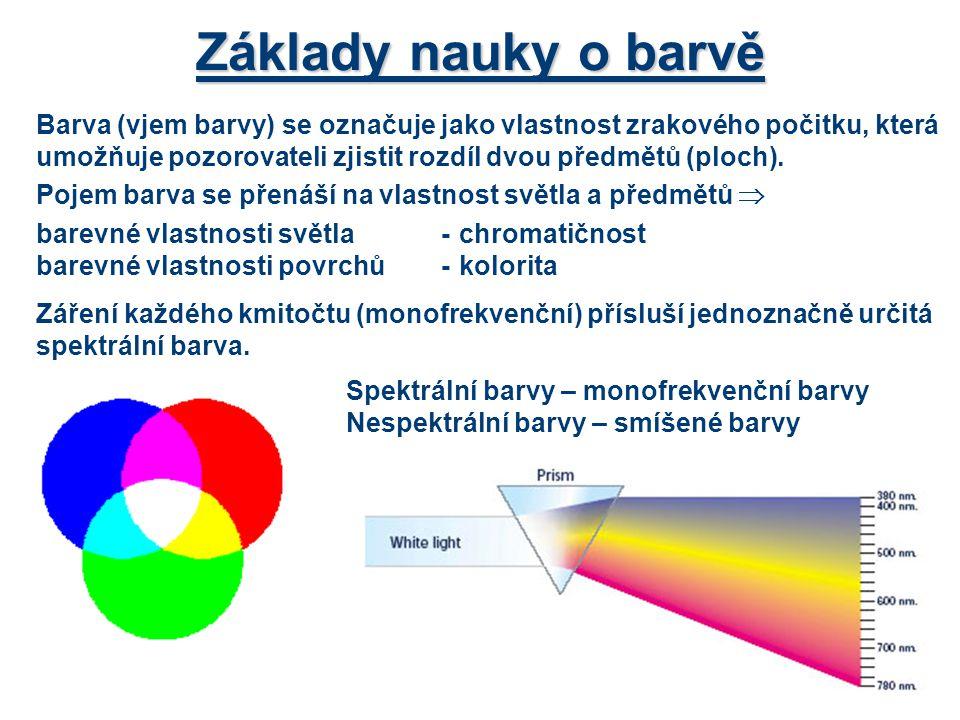 Barva (vjem barvy) se označuje jako vlastnost zrakového počitku, která umožňuje pozorovateli zjistit rozdíl dvou předmětů (ploch). Pojem barva se přen