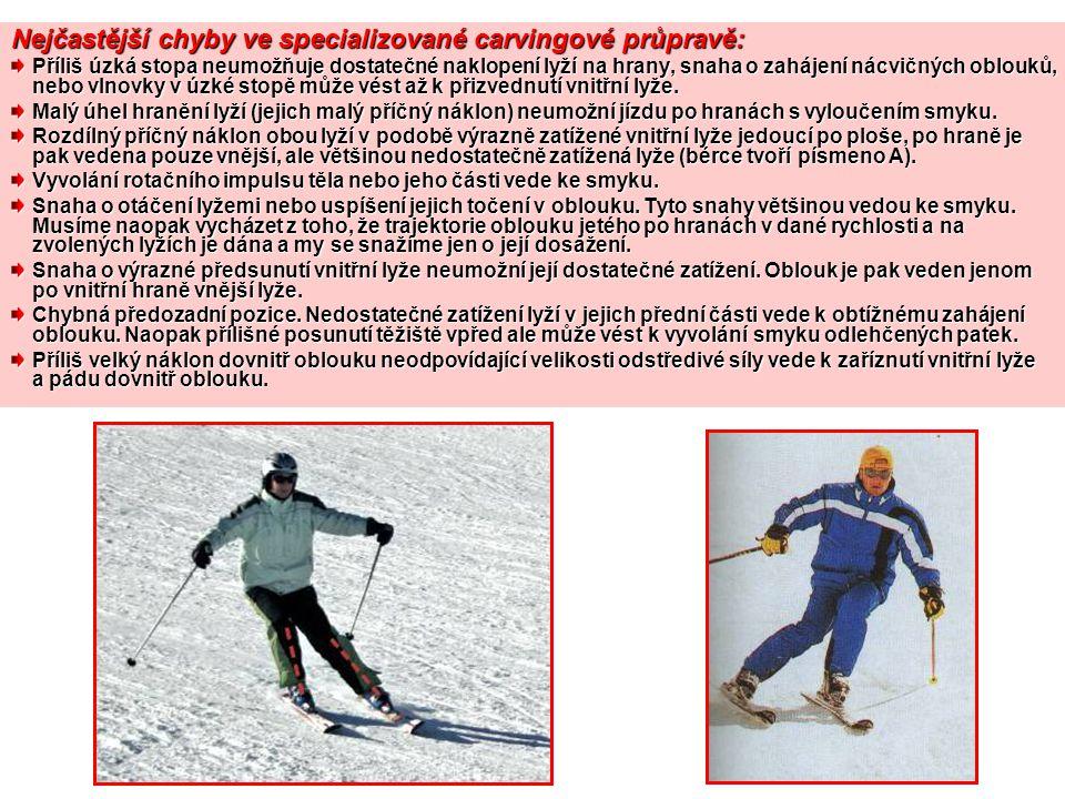 Nejčastější chyby ve specializované carvingové průpravě: Příliš úzká stopa neumožňuje dostatečné naklopení lyží na hrany, snaha o zahájení nácvičných