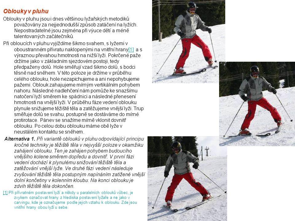 Oblouky v pluhu Oblouky v pluhu jsou i dnes většinou lyžařských metodiků považovány za nejjednodušší způsob zatáčení na lyžích. Nepostradatelné jsou z