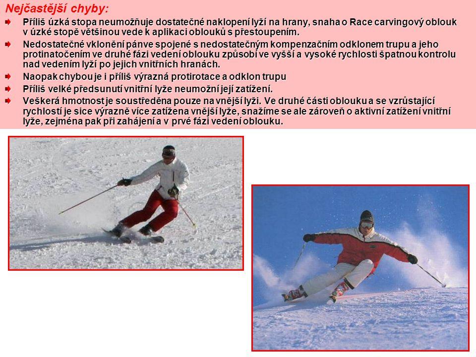 Nejčastější chyby: Příliš úzká stopa neumožňuje dostatečné naklopení lyží na hrany, snaha o Race carvingový oblouk v úzké stopě většinou vede k aplika