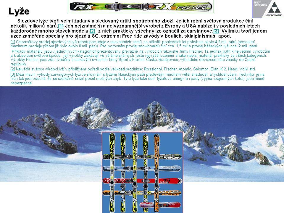 Lyže Sjezdové lyže tvoří velmi žádaný a sledovaný artikl spotřebního zboží. Jejich roční světová produkce činí několik milionů párů.[1] Jen nejznámějš