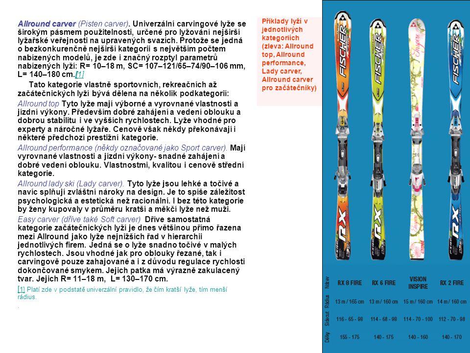 Allround carver. [ Allround carver (Pisten carver). Univerzální carvingové lyže se širokým pásmem použitelnosti, určené pro lyžování nejširší lyžařské