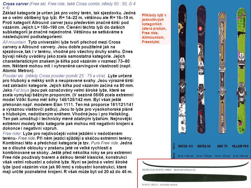Cross carver Cross carver (Free ski, Free ride, také Cross combi, někdy 50 : 50, či 4 x 4). Základ kategorie je určen jak pro volný terén, tak sjezdov