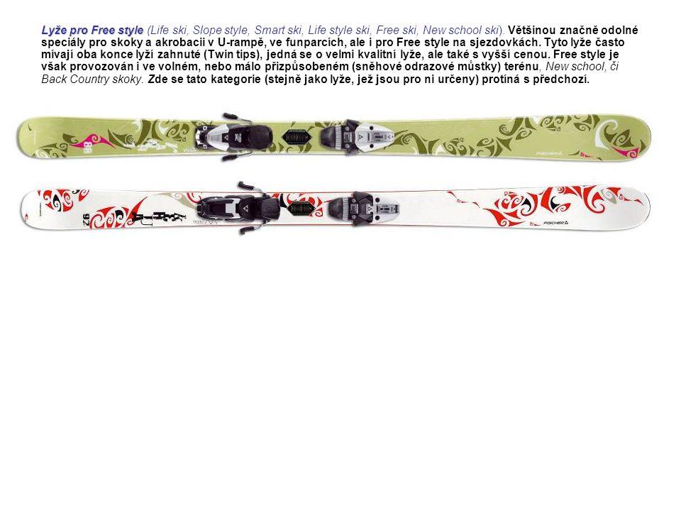 Lyže pro Free style Lyže pro Free style (Life ski, Slope style, Smart ski, Life style ski, Free ski, New school ski). Většinou značně odolné speciály