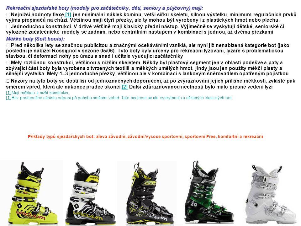 Rekreační sjezdařské boty (modely pro začátečníky, děti, seniory a půjčovny) mají:  Nejnižší hodnoty flexe,[1] jen minimální náklek komínu, větší šíř