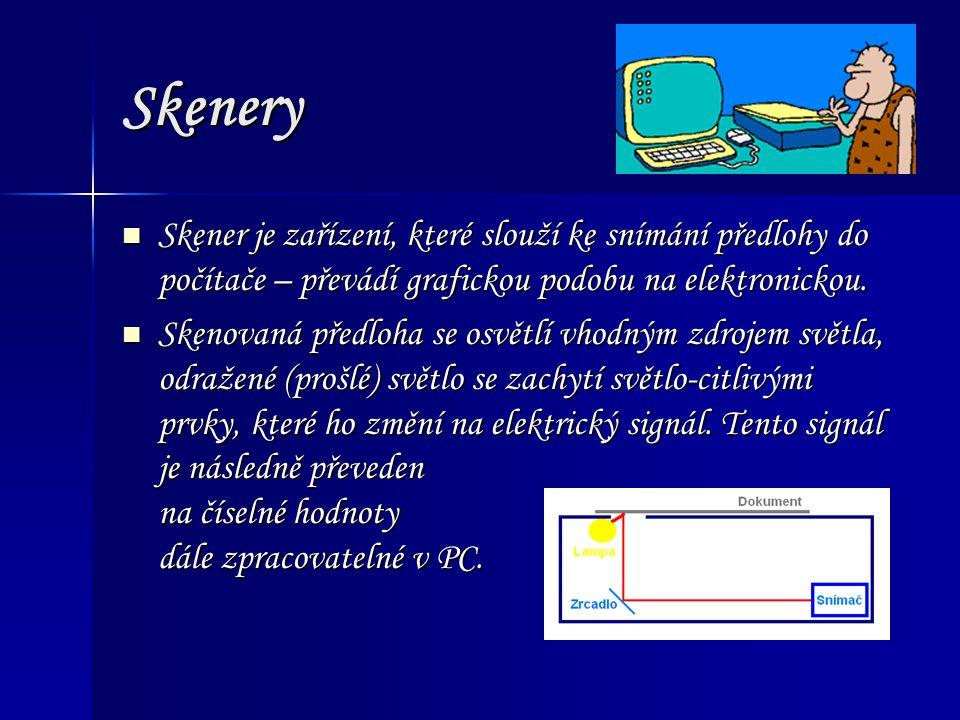 Skenery Skener je zařízení, které slouží ke snímání předlohy do počítače – převádí grafickou podobu na elektronickou.