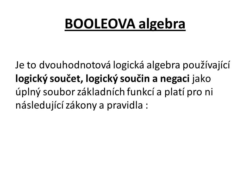 BOOLEOVA algebra Je to dvouhodnotová logická algebra používající logický součet, logický součin a negaci jako úplný soubor základních funkcí a platí pro ni následující zákony a pravidla :