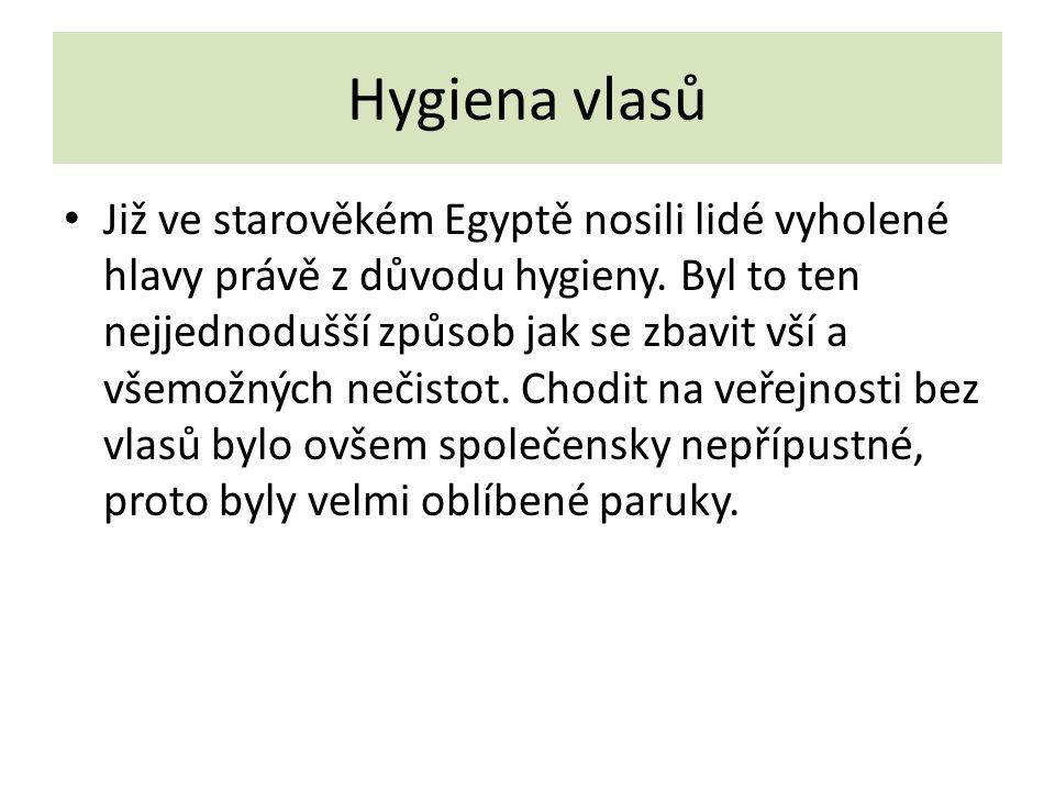 Hygiena vlasů Již ve starověkém Egyptě nosili lidé vyholené hlavy právě z důvodu hygieny. Byl to ten nejjednodušší způsob jak se zbavit vší a všemožný