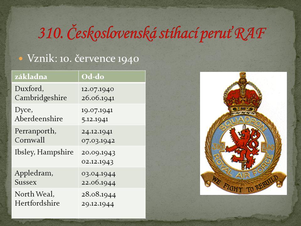 Vznik: 10. července 1940 základnaOd-do Duxford, Cambridgeshire 12.07.1940 26.06.1941 Dyce, Aberdeenshire 19.07.1941 5.12.1941 Perranporth, Cornwall 24