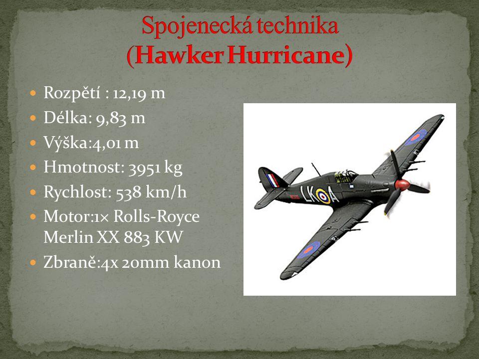 Rozpětí : 12,19 m Délka: 9,83 m Výška:4,01 m Hmotnost: 3951 kg Rychlost: 538 km/h Motor:1× Rolls-Royce Merlin XX 883 KW Zbraně:4x 20mm kanon