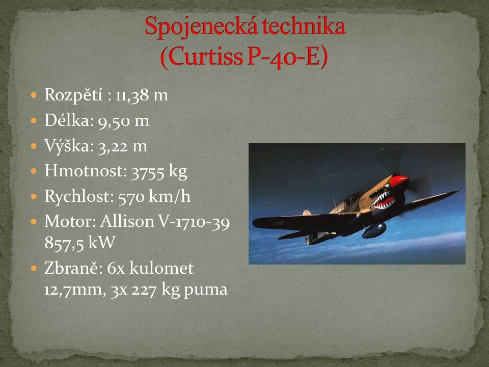 Rozpětí : 11,38 m Délka: 9,50 m Výška: 3,22 m Hmotnost: 3755 kg Rychlost: 570 km/h Motor: Allison V-1710-39 857,5 kW Zbraně: 6x kulomet 12,7mm, 3x 227 kg puma