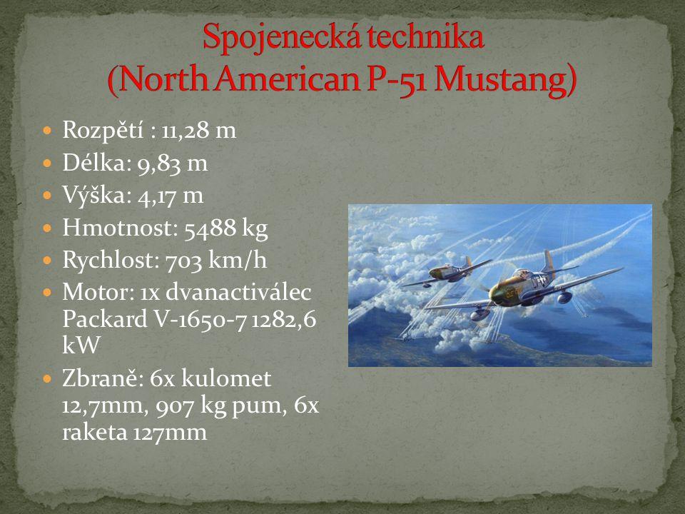 Rozpětí : 11,28 m Délka: 9,83 m Výška: 4,17 m Hmotnost: 5488 kg Rychlost: 703 km/h Motor: 1x dvanactiválec Packard V-1650-7 1282,6 kW Zbraně: 6x kulomet 12,7mm, 907 kg pum, 6x raketa 127mm