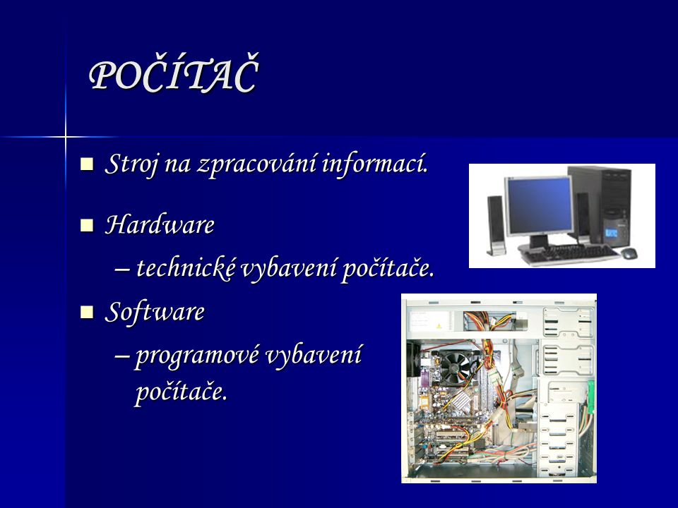Komponenty počítačových sítí Hardwarové Hardwarové –Uzly (počítače a karty pro síťová rozhraní) –Topologie (fyzická a logická) –Pasivní a aktivní prvky sítě –Pomocné komponenty (periferní zařízení, bezpečnostní zařízení a nástroje) Softwarové Softwarové –Síťové operační systémy a software prac.