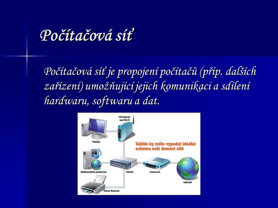 Počítačová síť Počítačová síť je propojení počítačů (příp. dalších zařízení) umožňující jejich komunikaci a sdílení hardwaru, softwaru a dat.