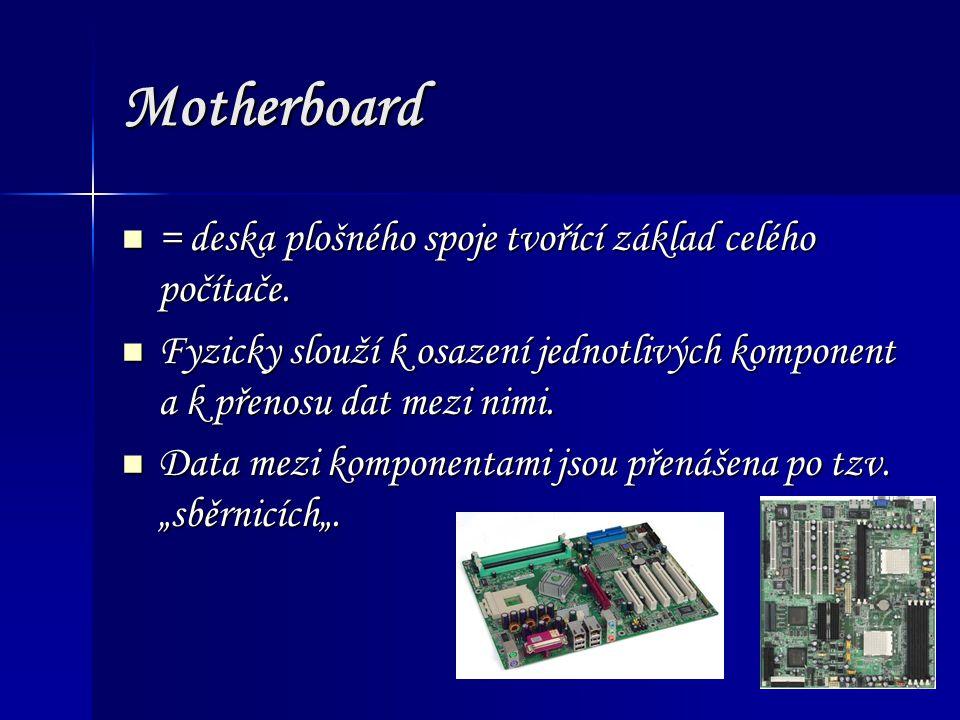 Motherboard obsahuje: Procesor Procesor Patici pro numerický koprocesor Patici pro numerický koprocesor Obvody čipové sady Obvody čipové sady Rozšiřující sběrnici (bus) Rozšiřující sběrnici (bus) Paměti Paměti Vyrovnávací cache paměť Vyrovnávací cache paměť Sloty pro připojení rozšiřujících karet Sloty pro připojení rozšiřujících karet může obsahovat: Vstupní/výstupní porty Vstupní/výstupní porty Řadič pružných disků Řadič pružných disků Rozhraní pevných disků Rozhraní pevných disků Videokarta /GPU Videokarta /GPU