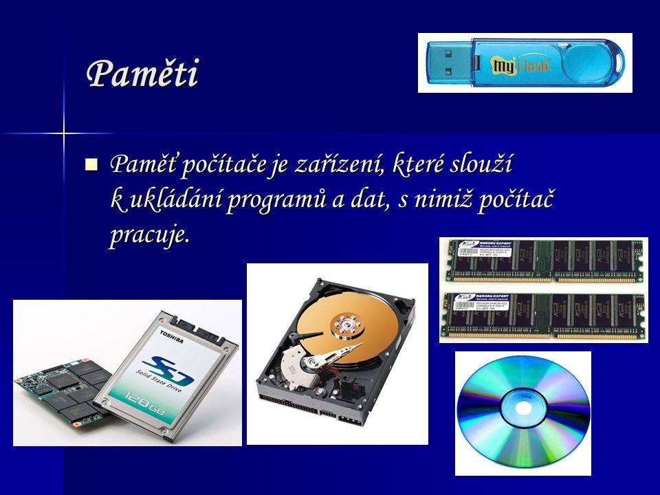 Rozdělení pamětí Vnitřní (interní) paměti Vnitřní (interní) paměti Paměti osazené většinou na základní desce.