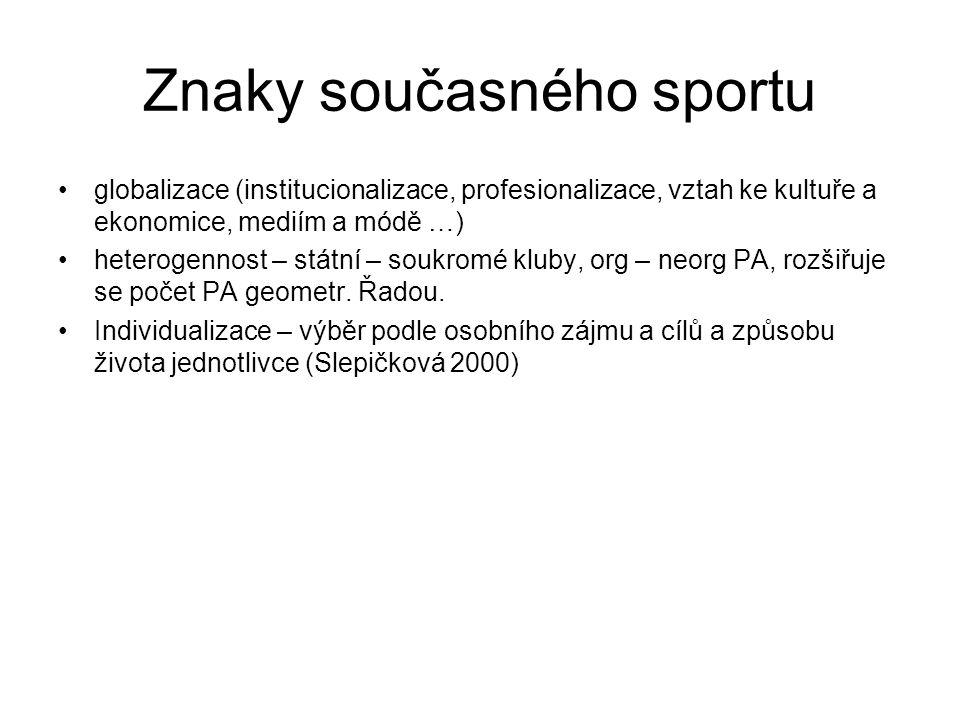 Znaky současného sportu globalizace (institucionalizace, profesionalizace, vztah ke kultuře a ekonomice, mediím a módě …) heterogennost – státní – sou