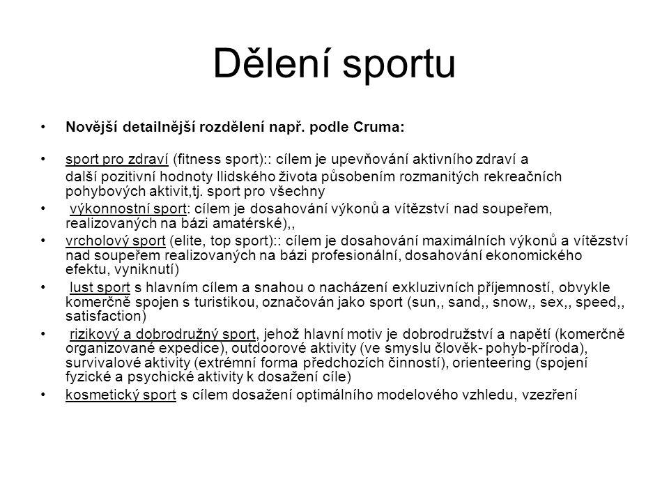 Dělení sportu Novější detailnější rozdělení např. podle Cruma: sport pro zdraví (fitness sport):: cílem je upevňování aktivního zdraví a další pozitiv