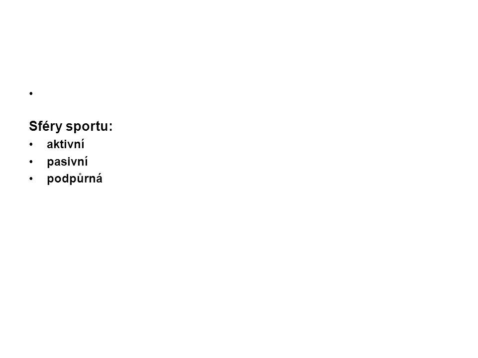 Funkce sportu výchovně vzdělávací zdravotní – i preventivní a kompenzační funkci kulturní – zábava pro široké vrstvy obyvatelstva reprezentační funkci – státu, oddílu, města