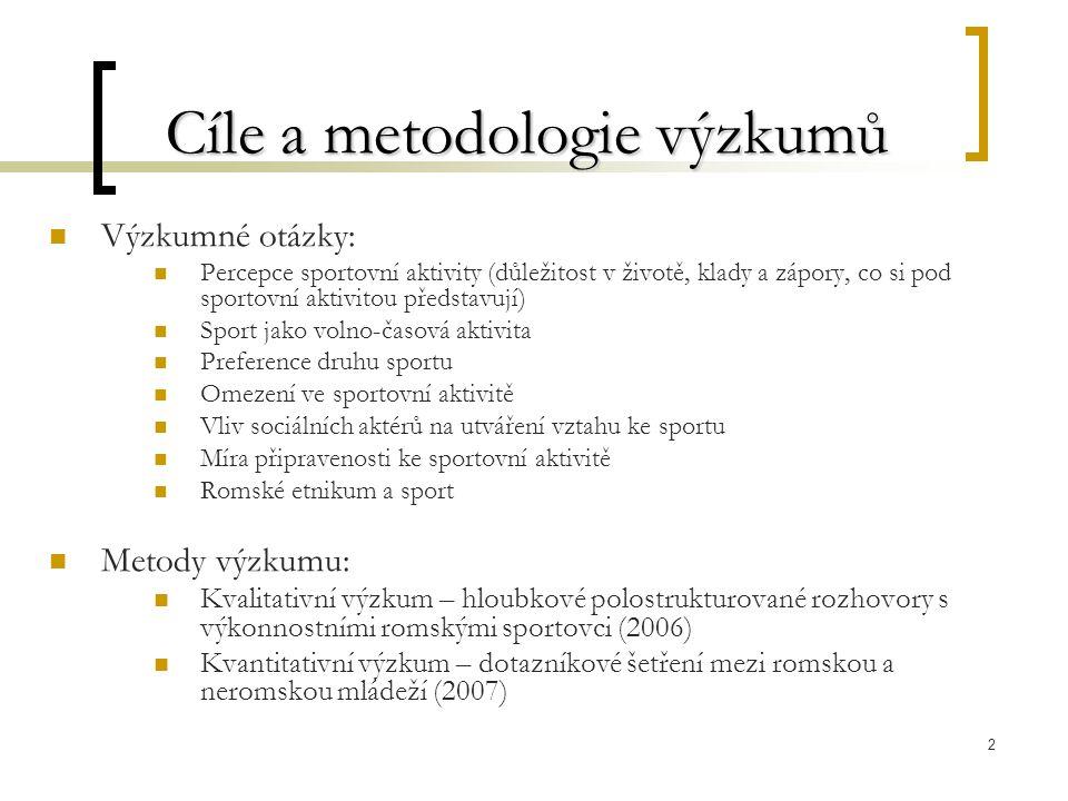 2 Cíle a metodologie výzkumů Výzkumné otázky: Percepce sportovní aktivity (důležitost v životě, klady a zápory, co si pod sportovní aktivitou představují) Sport jako volno-časová aktivita Preference druhu sportu Omezení ve sportovní aktivitě Vliv sociálních aktérů na utváření vztahu ke sportu Míra připravenosti ke sportovní aktivitě Romské etnikum a sport Metody výzkumu: Kvalitativní výzkum – hloubkové polostrukturované rozhovory s výkonnostními romskými sportovci (2006) Kvantitativní výzkum – dotazníkové šetření mezi romskou a neromskou mládeží (2007)