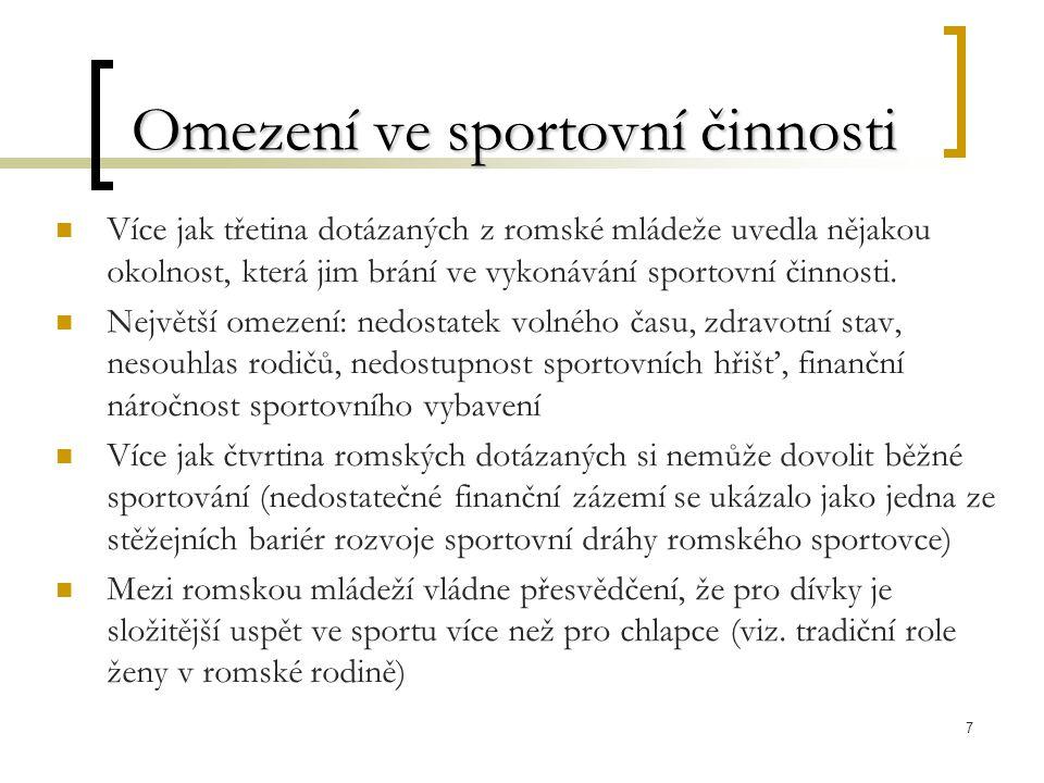 7 Omezení ve sportovní činnosti Více jak třetina dotázaných z romské mládeže uvedla nějakou okolnost, která jim brání ve vykonávání sportovní činnosti.