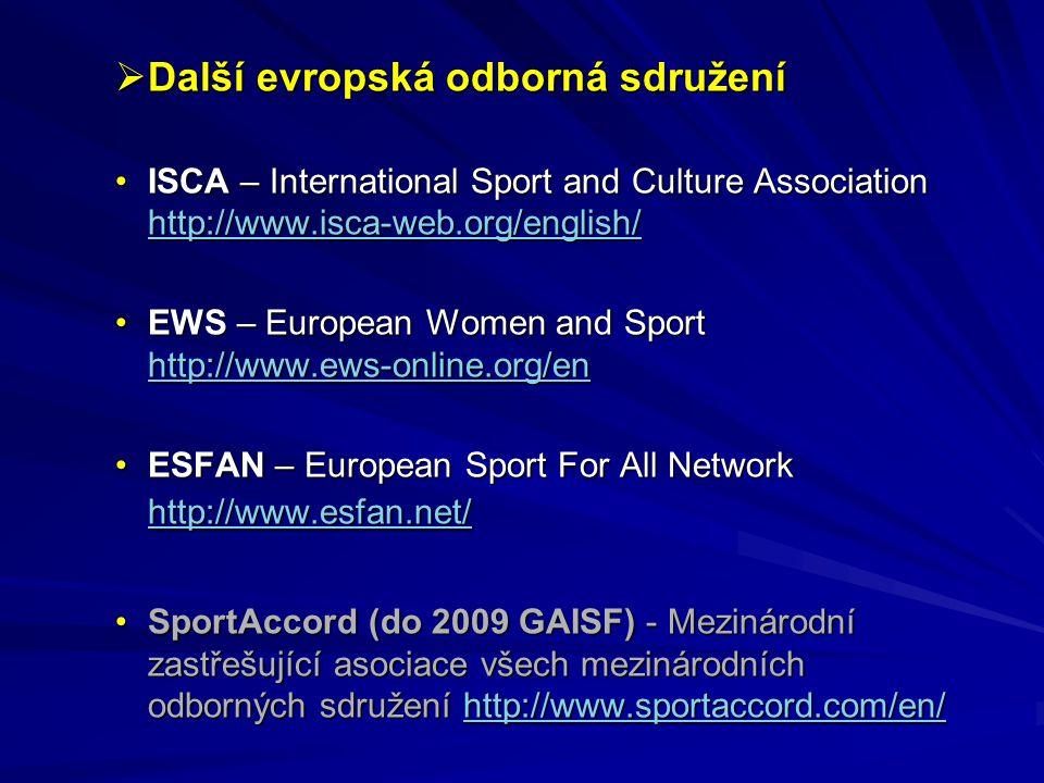  Další evropská odborná sdružení ISCA – International Sport and Culture Association http://www.isca-web.org/english/ISCA – International Sport and Cu