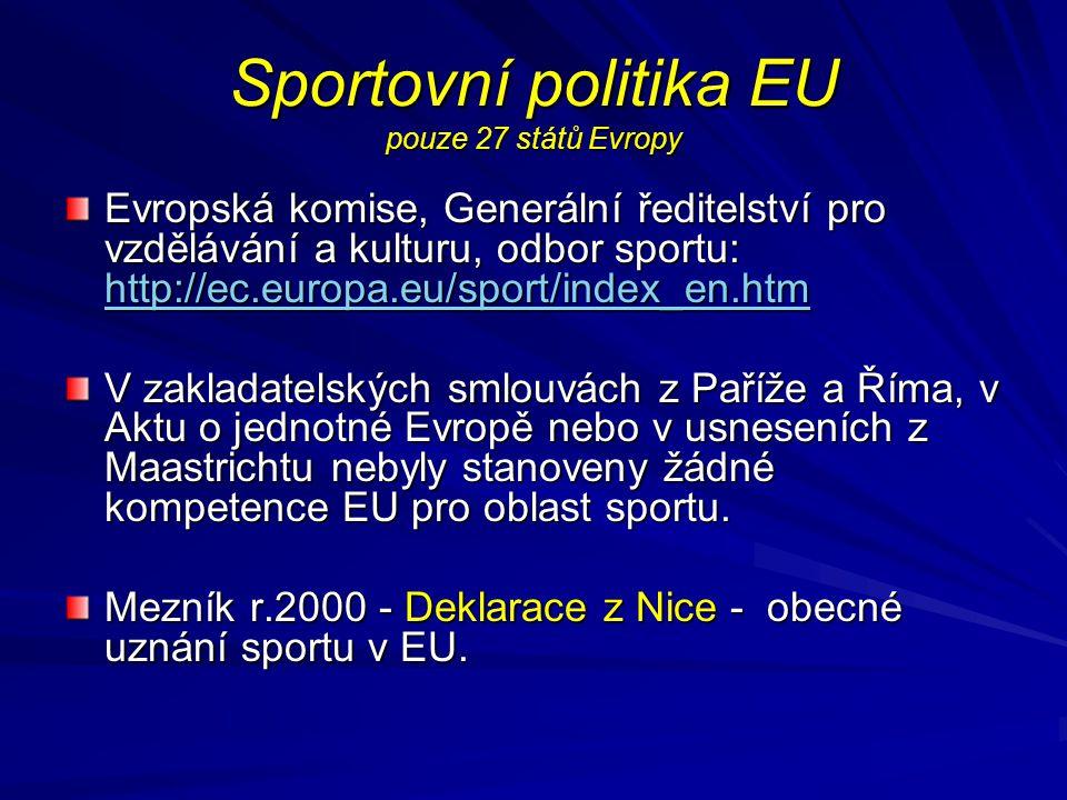 Sportovní politika EU pouze 27 států Evropy Evropská komise, Generální ředitelství pro vzdělávání a kulturu, odbor sportu: http://ec.europa.eu/sport/i