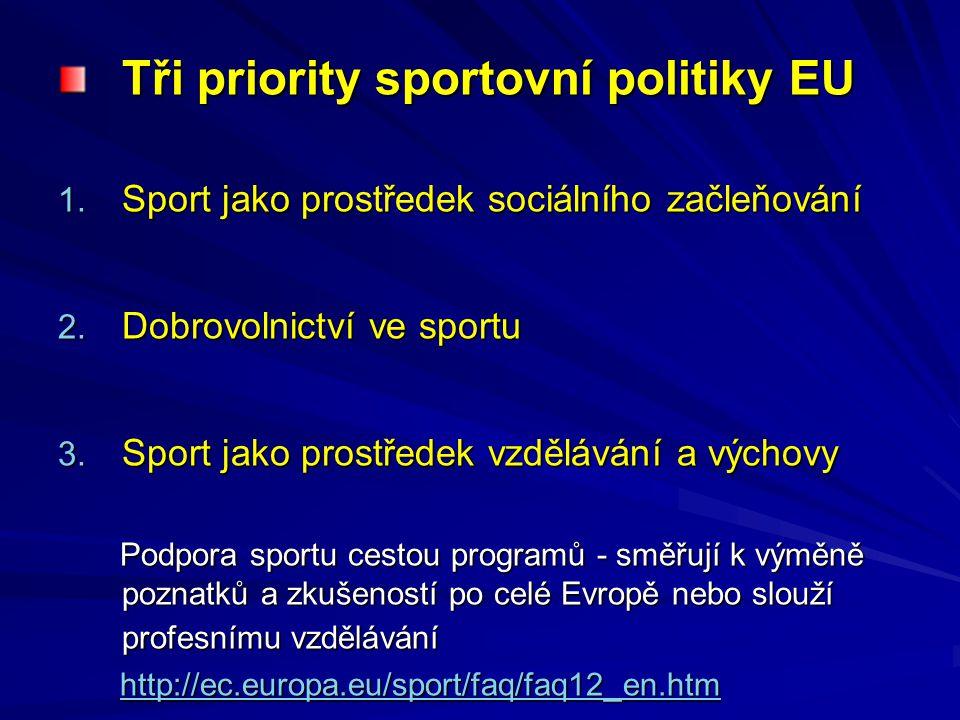 Tři priority sportovní politiky EU 1. Sport jako prostředek sociálního začleňování 2. Dobrovolnictví ve sportu 3. Sport jako prostředek vzdělávání a v