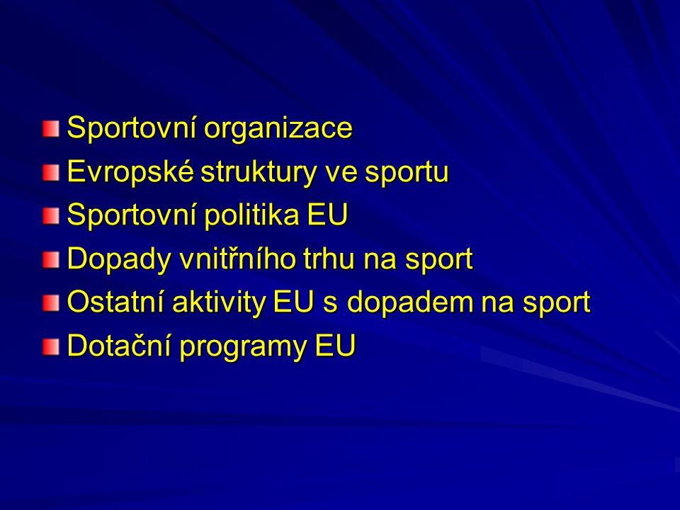 Sportovní organizace Evropské struktury ve sportu Sportovní politika EU Dopady vnitřního trhu na sport Ostatní aktivity EU s dopadem na sport Dotační
