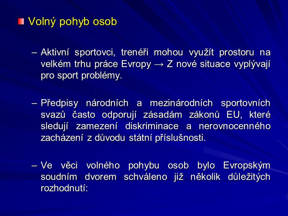 Volný pohyb osob –Aktivní sportovci, trenéři mohou využít prostoru na velkém trhu práce Evropy → Z nové situace vyplývají pro sport problémy. –Předpis
