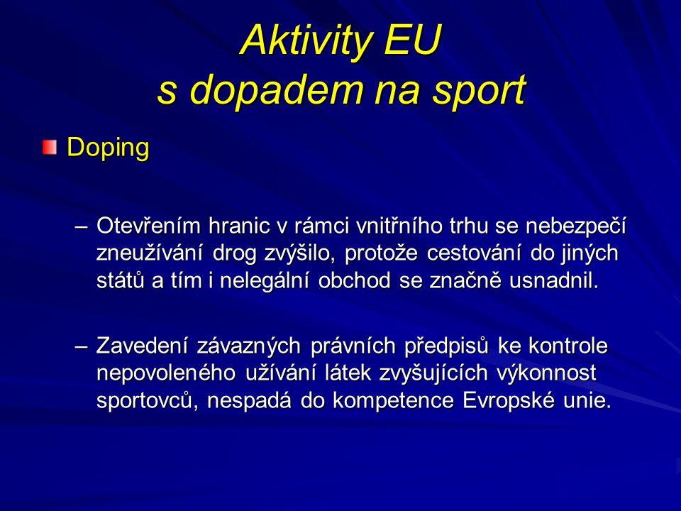 Aktivity EU s dopadem na sport Doping –Otevřením hranic v rámci vnitřního trhu se nebezpečí zneužívání drog zvýšilo, protože cestování do jiných států