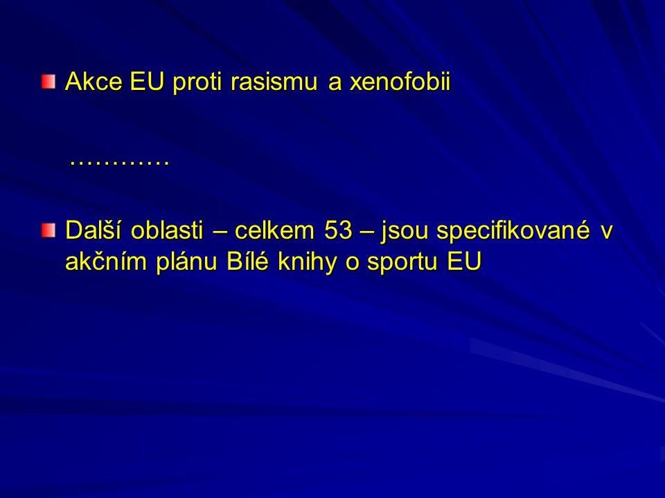 Akce EU proti rasismu a xenofobii ………… ………… Další oblasti – celkem 53 – jsou specifikované v akčním plánu Bílé knihy o sportu EU