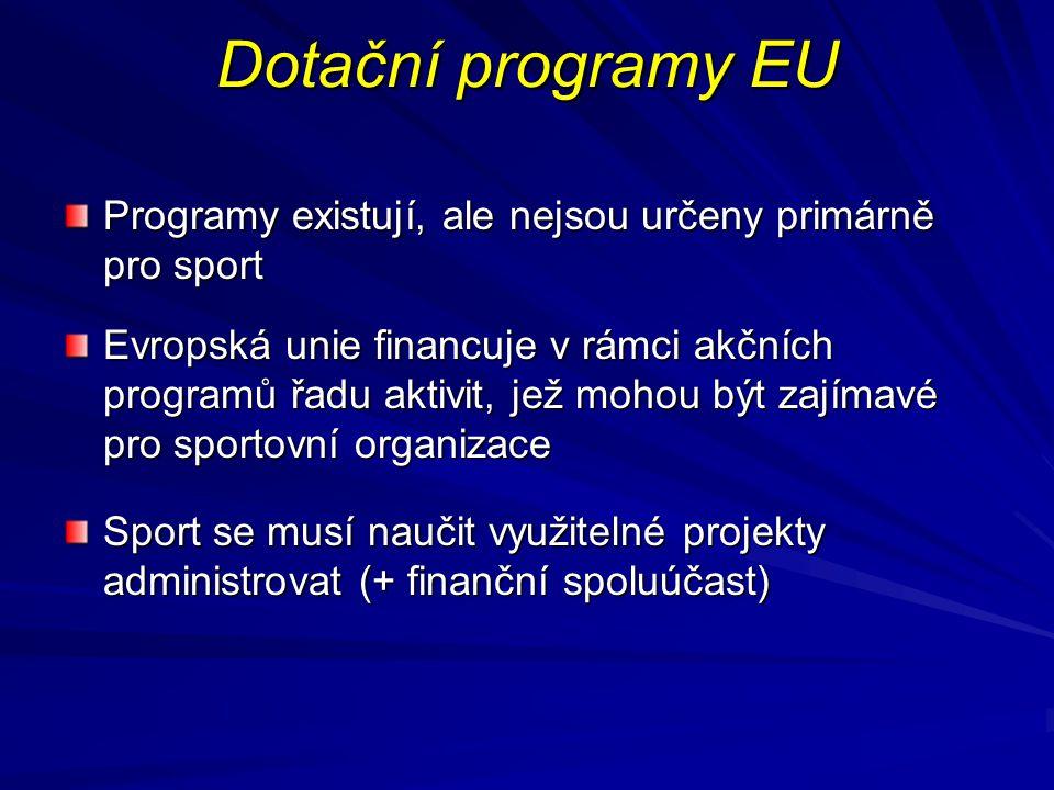 Dotační programy EU Programy existují, ale nejsou určeny primárně pro sport Evropská unie financuje v rámci akčních programů řadu aktivit, jež mohou b