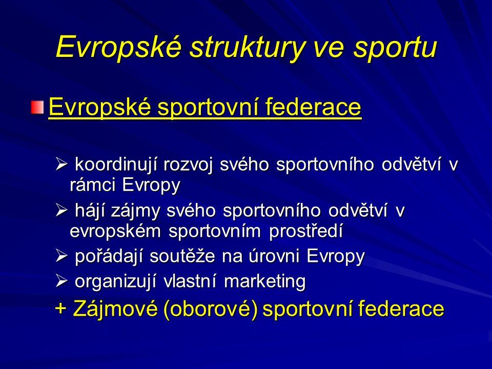Evropské sportovní federace  koordinují rozvoj svého sportovního odvětví v rámci Evropy  hájí zájmy svého sportovního odvětví v evropském sportovním