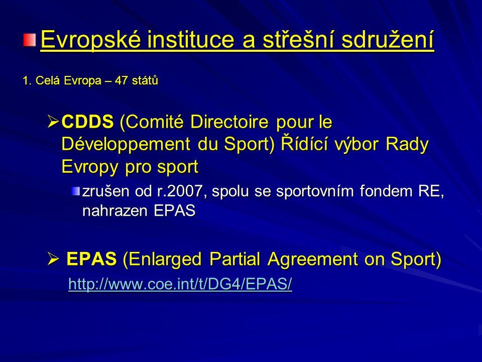 Evropské instituce a střešní sdružení 1. Celá Evropa – 47 států  CDDS (Comité Directoire pour le Développement du Sport) Řídící výbor Rady Evropy pro