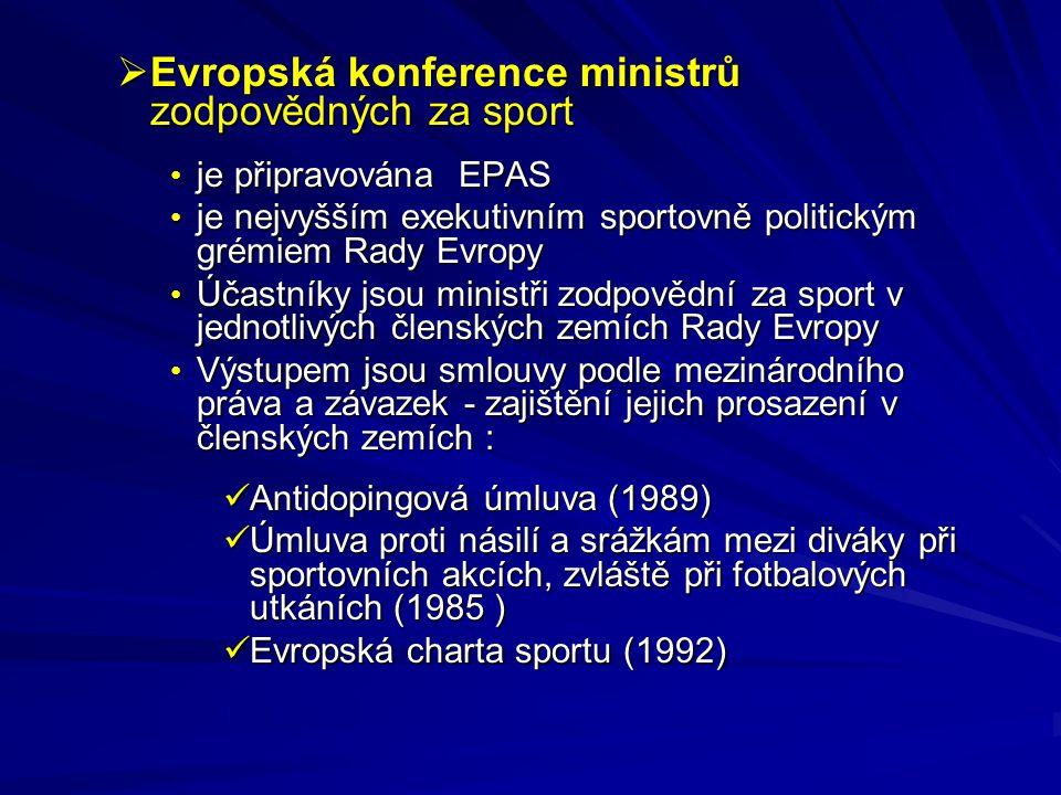  Evropská konference ministrů zodpovědných za sport je připravována EPAS je připravována EPAS je nejvyšším exekutivním sportovně politickým grémiem R