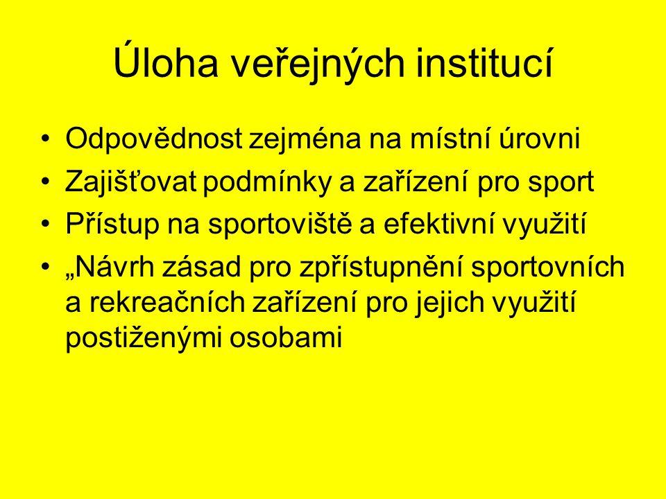 """Úloha veřejných institucí Odpovědnost zejména na místní úrovni Zajišťovat podmínky a zařízení pro sport Přístup na sportoviště a efektivní využití """"Návrh zásad pro zpřístupnění sportovních a rekreačních zařízení pro jejich využití postiženými osobami"""
