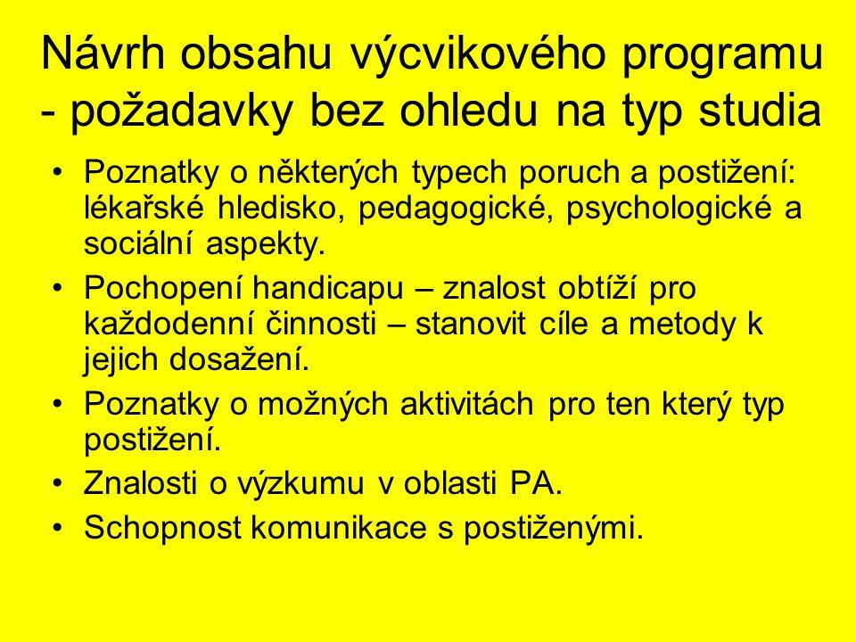 Návrh obsahu výcvikového programu - požadavky bez ohledu na typ studia Poznatky o některých typech poruch a postižení: lékařské hledisko, pedagogické, psychologické a sociální aspekty.