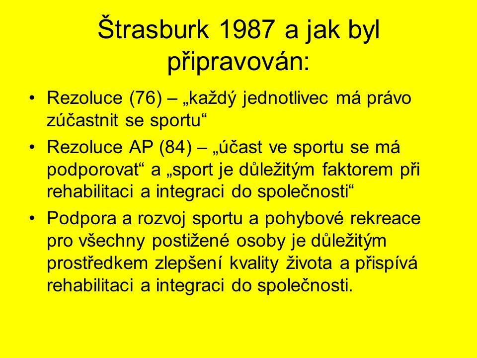 """Štrasburk 1987 a jak byl připravován: Rezoluce (76) – """"každý jednotlivec má právo zúčastnit se sportu Rezoluce AP (84) – """"účast ve sportu se má podporovat a """"sport je důležitým faktorem při rehabilitaci a integraci do společnosti Podpora a rozvoj sportu a pohybové rekreace pro všechny postižené osoby je důležitým prostředkem zlepšení kvality života a přispívá rehabilitaci a integraci do společnosti."""