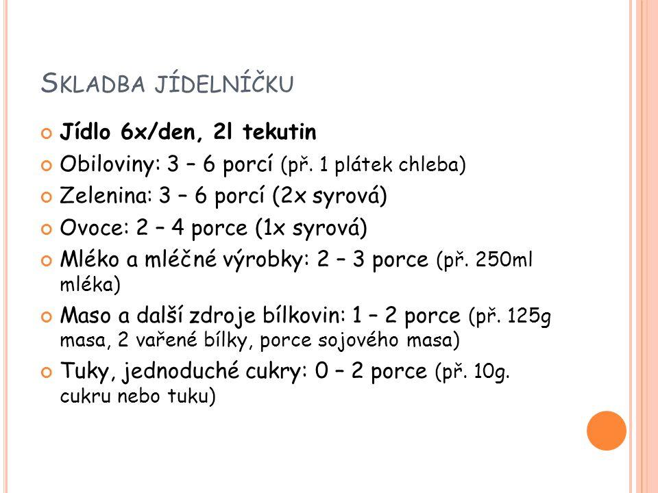 S KLADBA JÍDELNÍČKU Jídlo 6x/den, 2l tekutin Obiloviny: 3 – 6 porcí (př. 1 plátek chleba) Zelenina: 3 – 6 porcí (2x syrová) Ovoce: 2 – 4 porce (1x syr